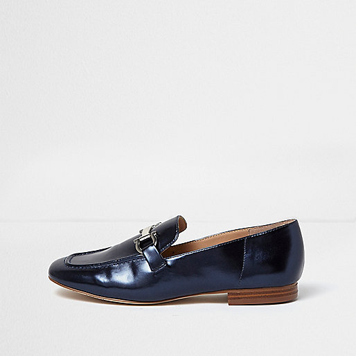 Metallic blue soft loafers
