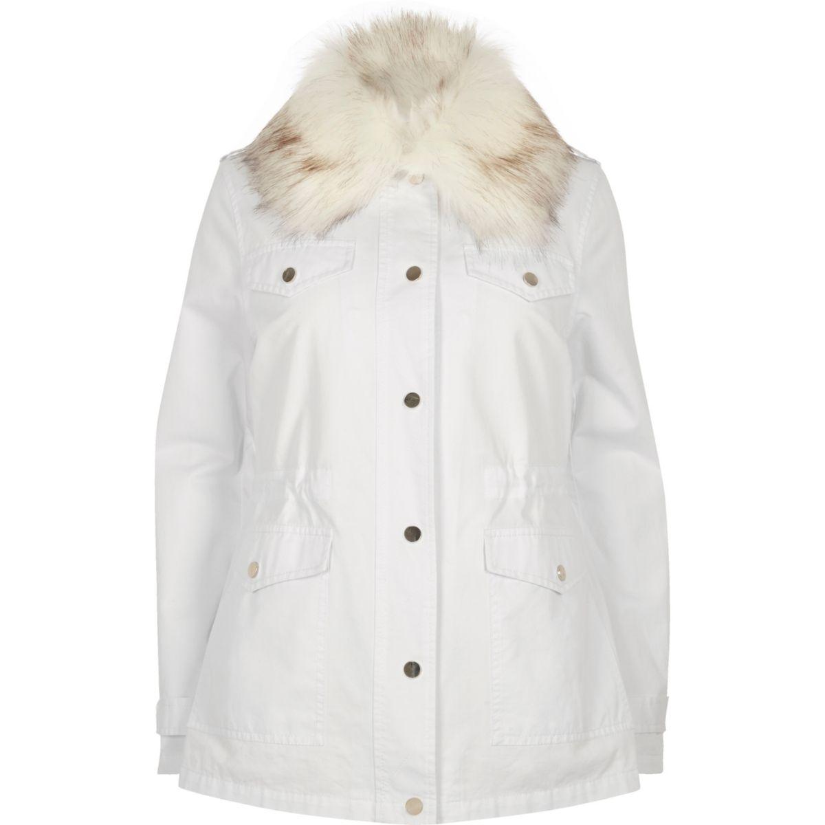White faux fur lined parka