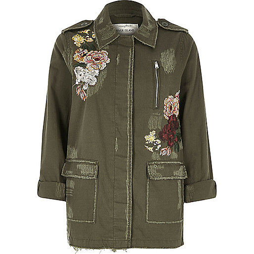 Khaki floral embroidered army jacket