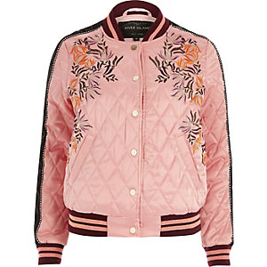 Pink floral embroidered quilted bomber jacket
