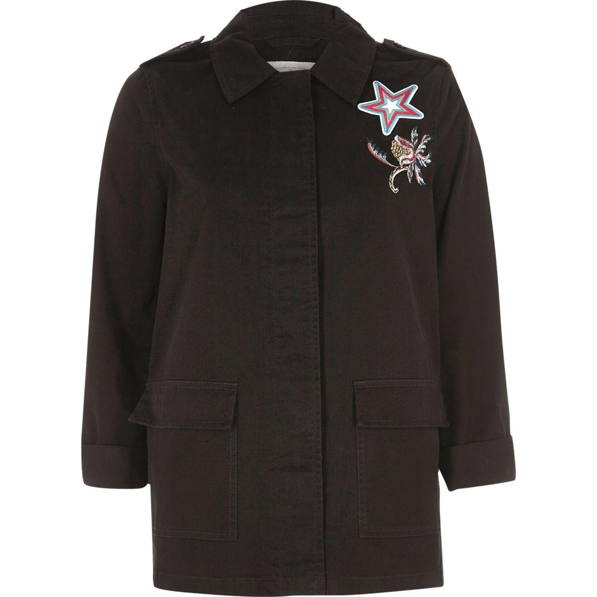 Black troublemaker print army jacket