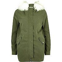 Khaki faux fur trim swing parka jacket