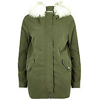 Khaki faux fur trim swing parka jacket