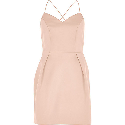 Blush pink cami strap mini dress