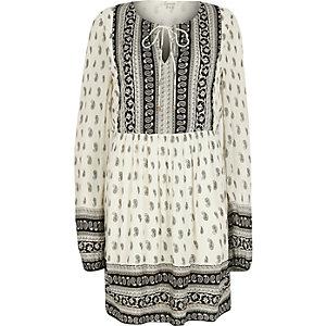 White paisley print swing dress