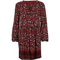 Robe évasée rouge à imprimé floral et manches longues