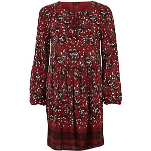 Rotes, langärmliges Swing-Kleid mit Print