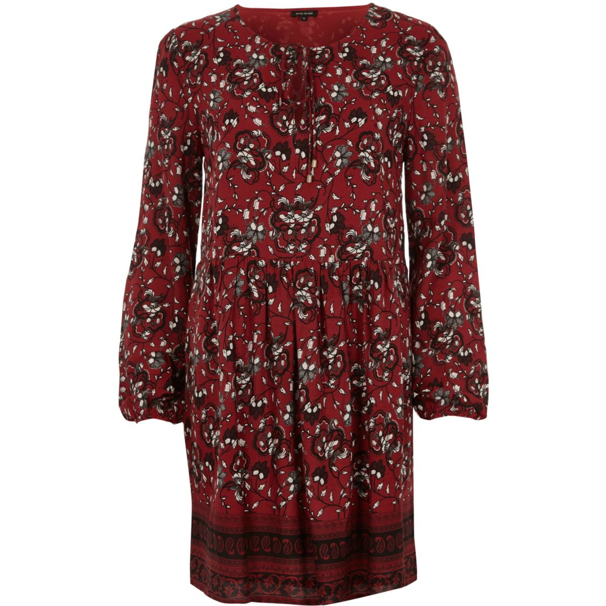 Red long sleeve floral print swing dress