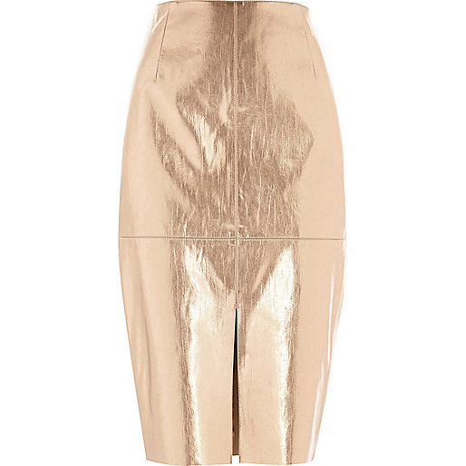 Metallic pink pencil skirt