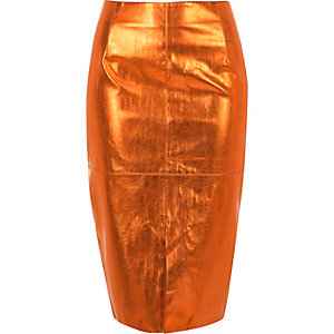Metallic orange pencil skirt