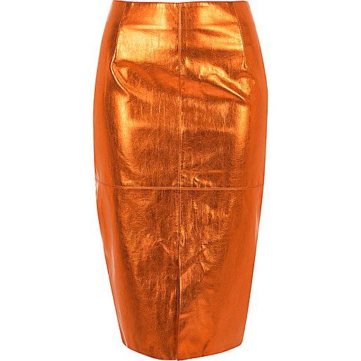 Jupe crayon orange métallisée