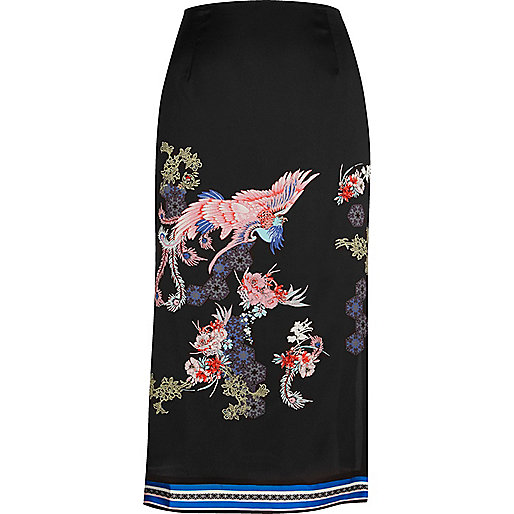 Black oriental print midi skirt