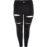 Plus – Schwarze High Rise Party-Jeans im Used-Look