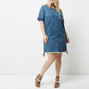 Plus blue wash frayed denim T-shirt dress