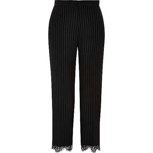 Black lace hem pinstripe pants