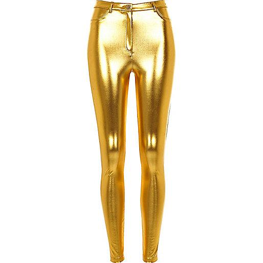 Pantalon skinny doré métallisé