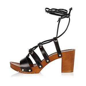 Black leather tie up clog sandals