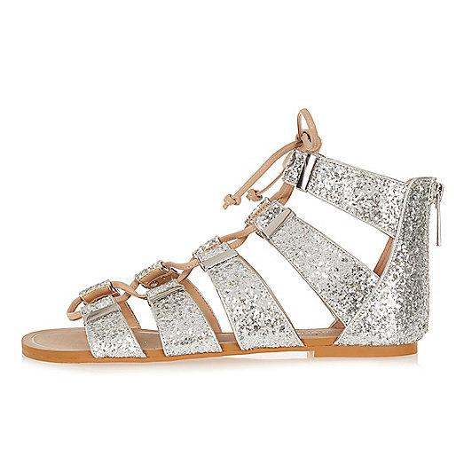 Silver glitter gladiator sandals