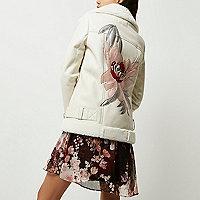 Manteau aviateur imitation cuir crème avec fleurs dans le dos