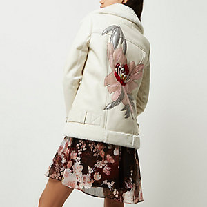 Cream faux leather floral back aviator coat