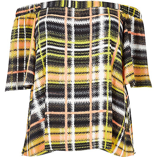 Plus yellow checked bardot top