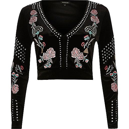 Black embellished embroidered velvet top