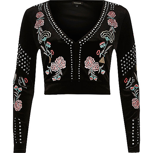 Black embellished embroidered velvet top