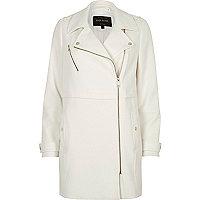 White longline woven biker jacket