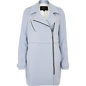 Light blue longline woven biker jacket