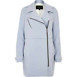 Light blue longline woven biker jacket