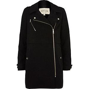 Black longline woven biker jacket