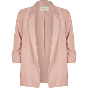 Light pink stripe ruched sleeve blazer