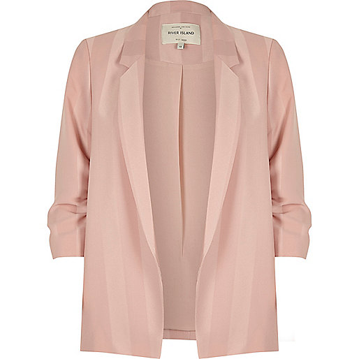 Light pink stripe ruched sleeve blazer