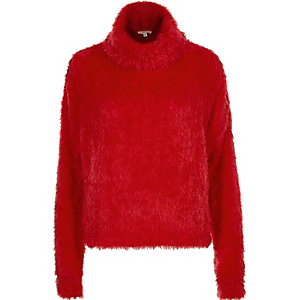 Red fluffy cowl neck jumper