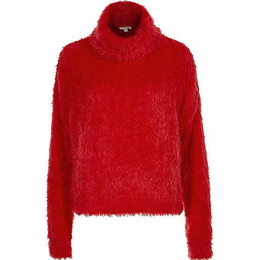 Red fluffy cowl neck jumper
