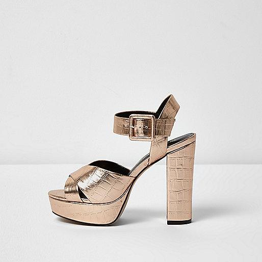 Rose gold wide fit platform heel sandals