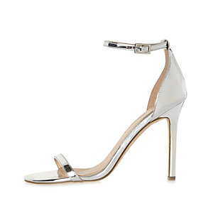 Silver metallic barely there wide fit sandals