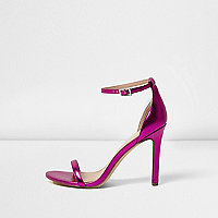Metallic pink barely there heeled sandals