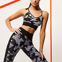 RI Active black camo print sports bra top
