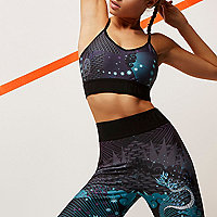 RI Active green print sports bra top
