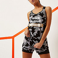 RI Active black camo slogan print gym vest