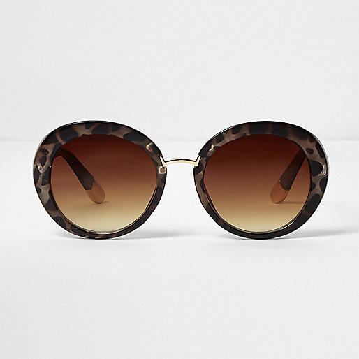 Braune, runde Sonnenbrille mit Animal-Print