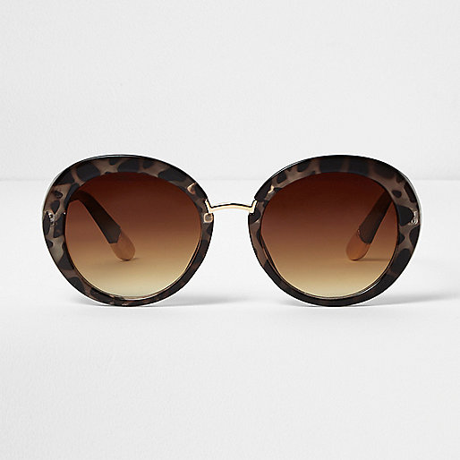 Brown animal print round sunglasses