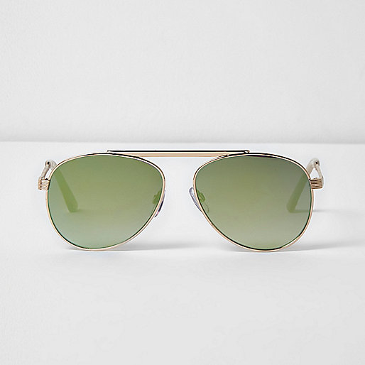 Gold tone brow bar green mirrored sunglasses