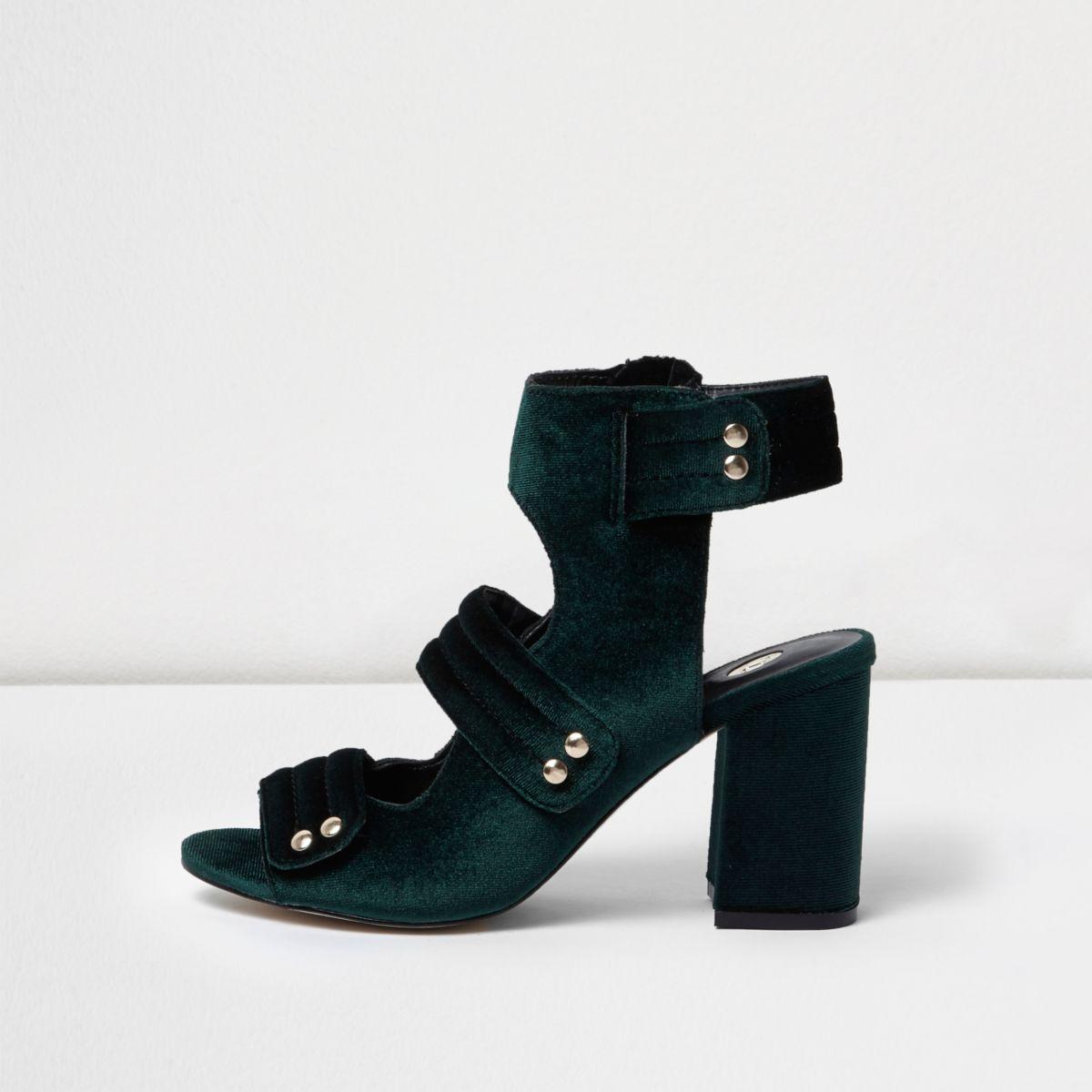 Khaki velvet strappy shoe boots