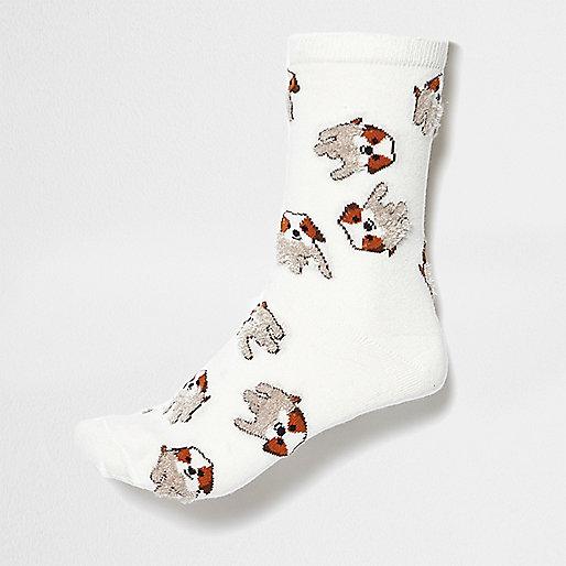 Chaussettes motif chien blanches