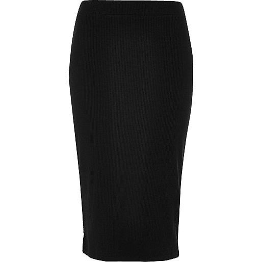 Black popper jersey pencil skirt