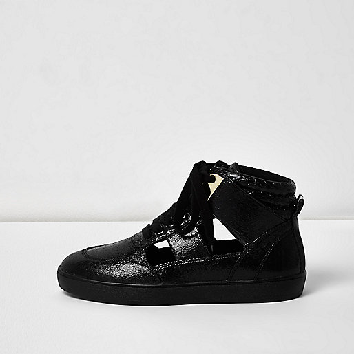 Zwarte hoge sneakers met uitsnijding