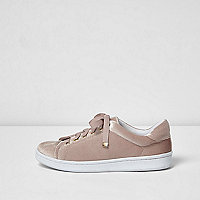 Blush pink velvet lace up trainers
