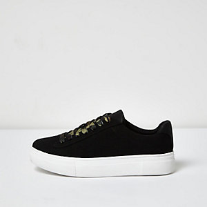 Black camo lace-up platform trainers